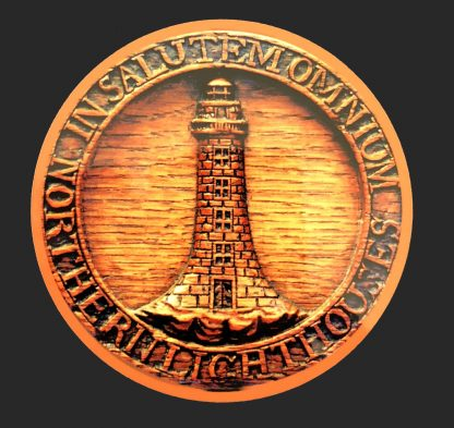 Round wood effect coaster with lighthouse image