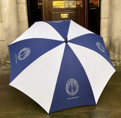 NLB blue and white large umbrella