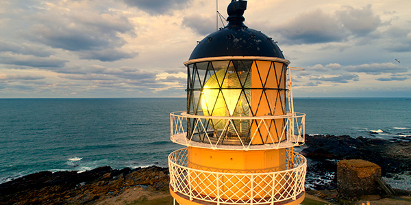 Museum of Scottish Lighthouses with light shining