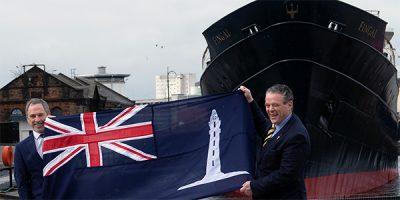 Graham Crerar and Bob Downie with NLB flag at Fingal