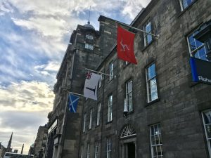 Exterior of 84 George Street with flags