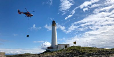 Hyskeir lighthouse with helicopter