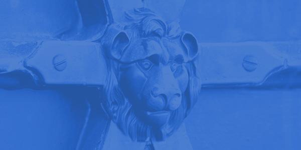 Lion head detail in blue