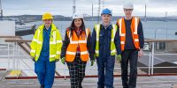 UK Maritime Minister with apprentices on Pharos