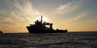 Vessel pharos at sunset