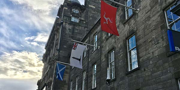 flags flying at NLB office Edinburgh